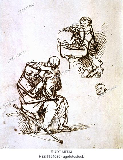 'Old Man Playing with Child', 1635-1640. From the British Museum, London