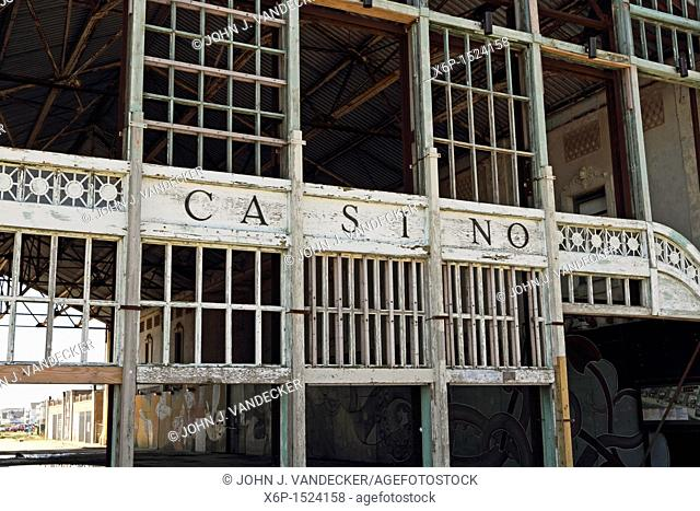 The dilapidated Casino entrance in Asbury Park, New Jersey, USA  Although the shore town of Asbury Park is undergoing a revival the old Casino