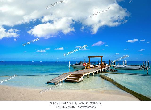 Cancun Playa Linda beach in Hotel Zone at Mexico