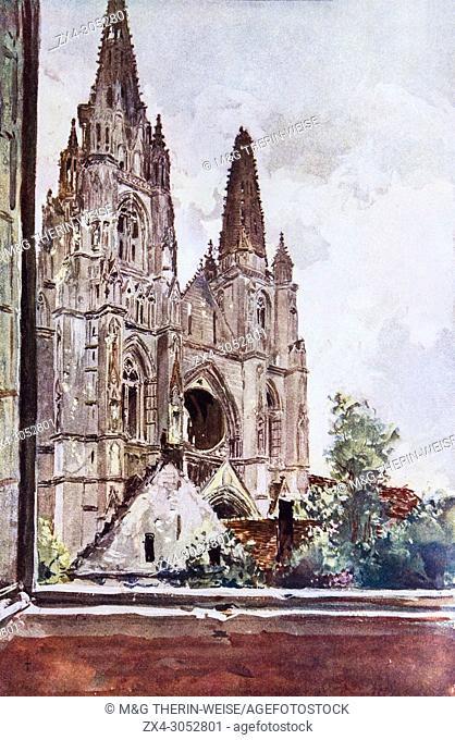 Bombed Saint Jean des Vignes Church, Soissons, 1915, France