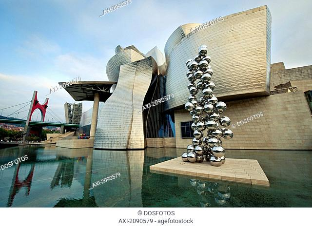 Tall Tree Sculpture In Front Of Guggenheim Museum, Bilbao, Basque Country, Spain