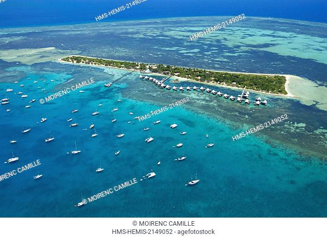 France, New Caledonia, Southern Province, off Noumea, nature reserve island Master, Lagoon classified as a UNESCO World Heritage (aerial view)