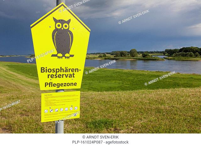 Sign of the UNESCO Elbe River Landscape biosphere reserve in summer, Lower Saxony, Germany