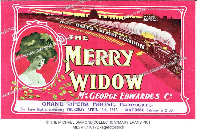 Promotional flyer for The Merry Widow by Edward Morton from the Ger-man of Victor Leon and Leo Stein (Theater an der Wien, Vienna