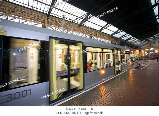 New Metro Trams in Manchester city centre, UK