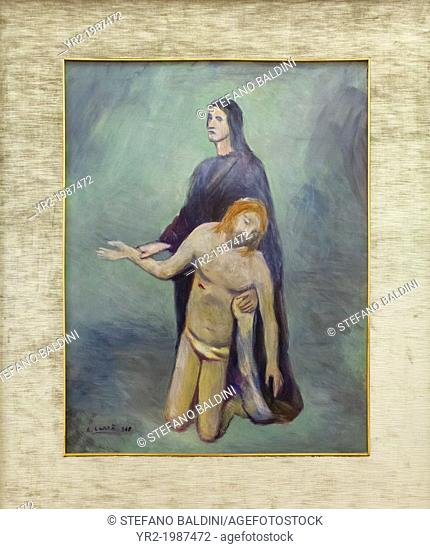 Pieta',1948, Carlo Carra', 1881-1966, oil on canvas, cm 88 x 68, vatican museums, Rome, Italy