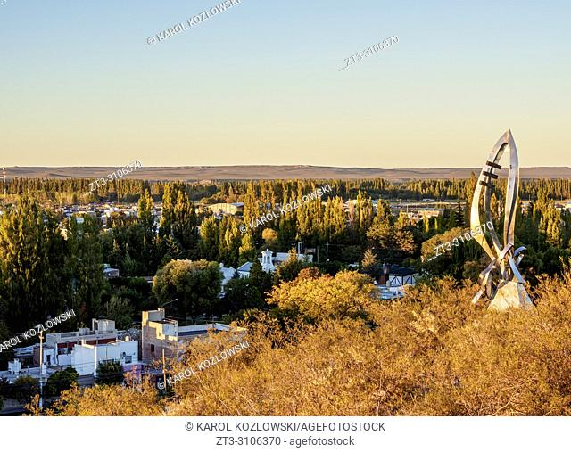 Gaiman at sunrise, elevated view, The Welsh Settlement, Chubut Province, Patagonia, Argentina