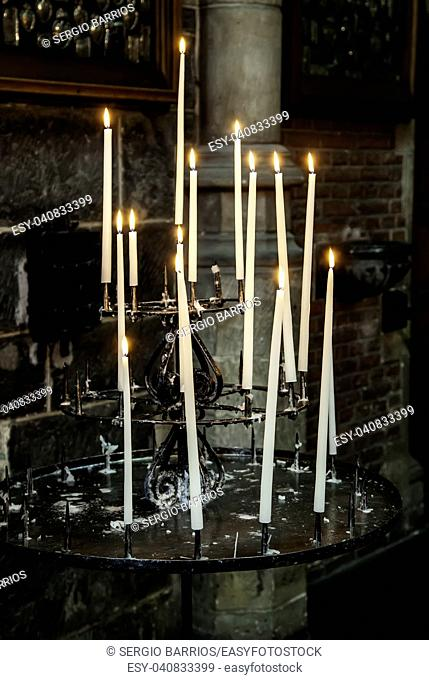 Wax candles in a church, belief and faith, religion