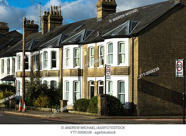 Victorian Terraced houses on Huntingdon Road, Cambridge, UK