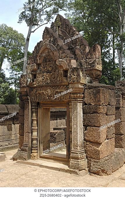 Cambodia, Banteay Srei, 10th century A. D. 2nd Torana, side view