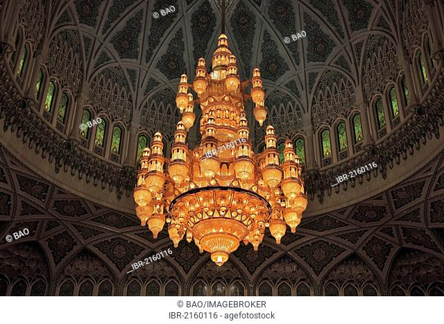 Large chandelier in the men's prayer hall, Sultan Qaboos Grand Mosque, the main mosque in Oman, one of the most important buildings in the country