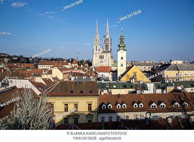 View of Zagreb with Main Cathedral and Baroque church tower, Zagreb, Croatia