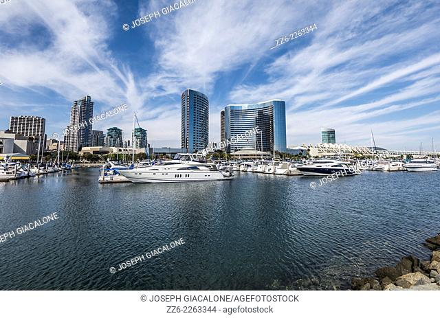View of the Embarcadero Marina and downtown San Diego buildings. San Diego, California, United States