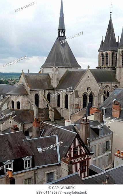 Roof of St-Nicolas Church in Blois . Loire Valley, France