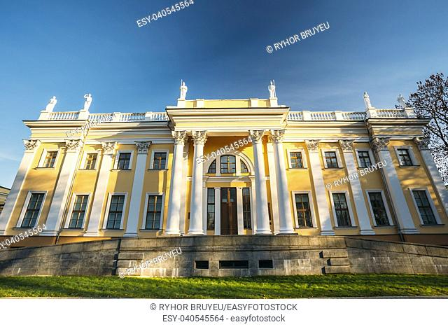 Rumyantsev-Paskevich Palace in Gomel, Belarus. Sunny day with blue sky