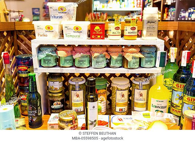Spanish products, weekly market in Es Mercadal, centre of the island Menorca, the Balearic Islands, Spain, Southern Europe