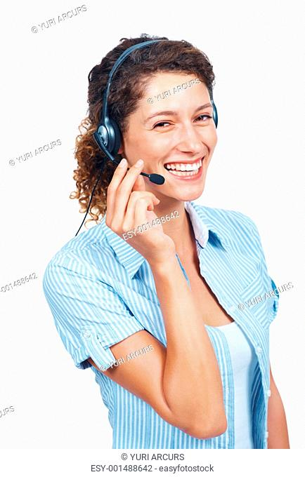 Portrait of pretty customer support representative smiling with headset
