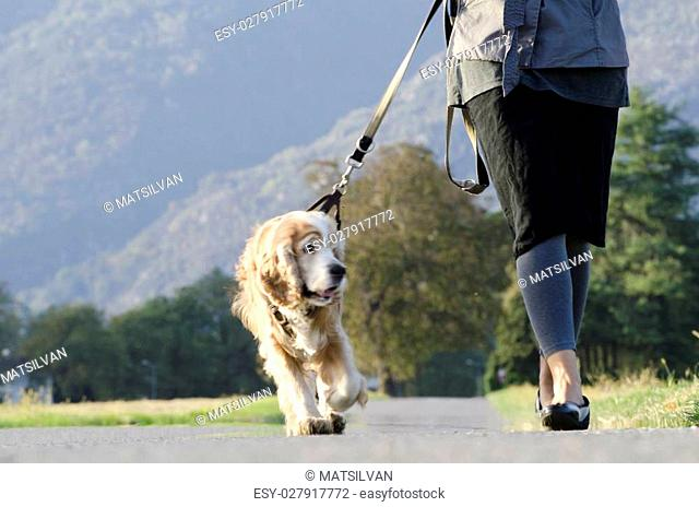 Woman walking with her dog