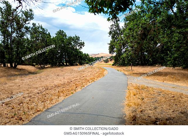 View down Arroyo Del Valle Regional Trail in Sycamore Grove Park in Livermore, California, July 5, 2017