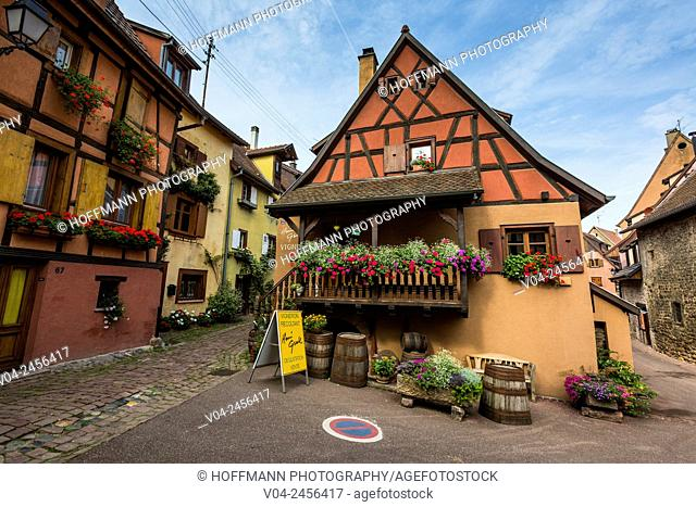 Picturesque timbered house in Eguisheim, Alsace, France, Europe
