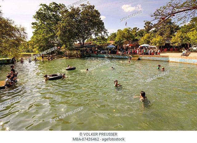 Hpa-An, pool near mountain mount Mt Zwegabin, bathing people, bather, Kayin (Karen) State, Myanmar (Burma)
