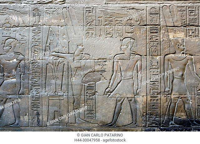 Luxor, Egypt. Temple of Luxor (Ipet resyt): the pharaoh Alexander the Great (356 - 323 b.C.) blessed by the god Min Amon