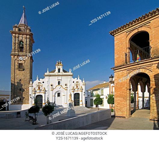 Church and town hall square, Bollullos par del Condado, Huelva-province, Spain