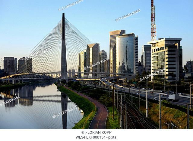 Brazil, Sao Paulo, district Morumbi, skyscrapers, Financial center, bridge Octavio Frias de Oliveira