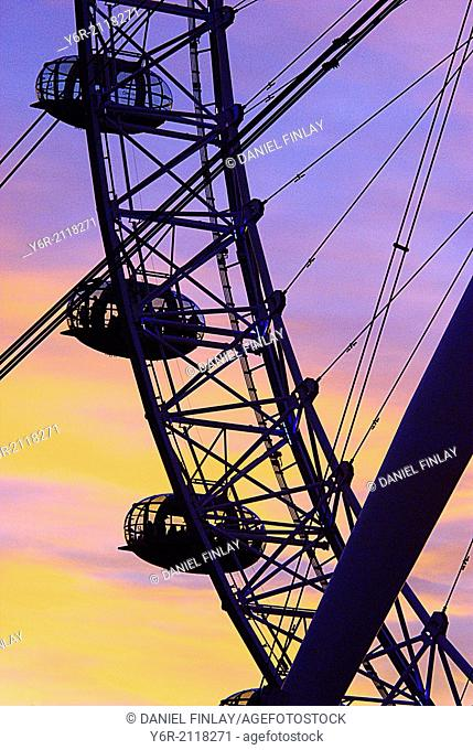 The London Eye in the heart of London, England, against a dramatic Winter sunset