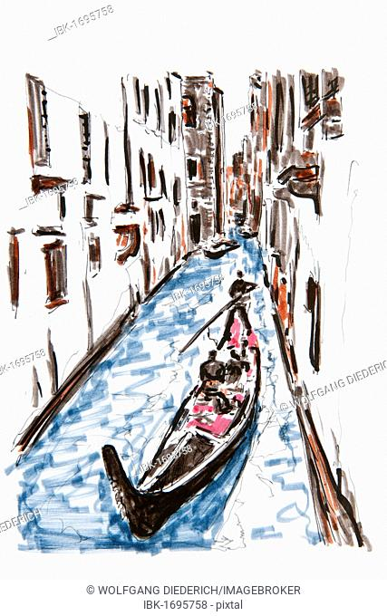 Gondola on a small canal, Venice, Italy, drawing by Gerhard Kraus, Kriftel