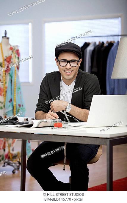 Clothing designer working in workshop