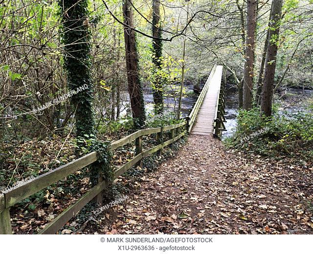 Burgess Bridge over the River Nidd in Nidd Gorge Woods in Autumn Knaresborough North Yorkshire England