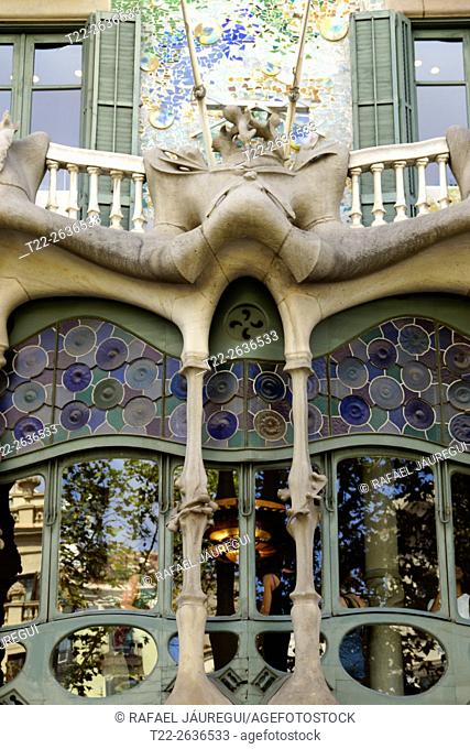 Barcelona (Spain). Architectural detail of the Casa Batllo in Barcelona