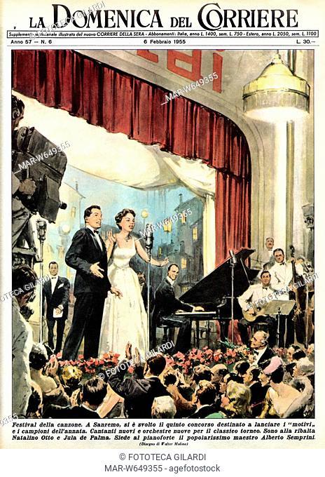 FESTIVAL di SANREMO Illustrazione di Water Molino per il 5 Festival della Canzone Italiana, Sanremo. Copertina della Domenica del Corriere, 1955