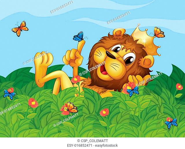 A lion in the garden with butterflies