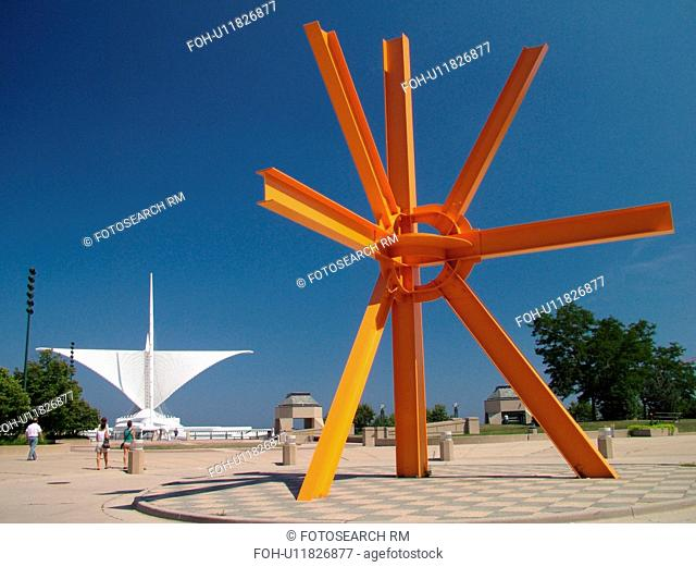 Milwaukee, WI, Wisconsin, Downtown, Milwaukee Art Museum, large orange sculpture