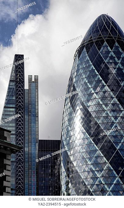 The Cheesegrater and Gherkin Skyscrapers alongside - London UK