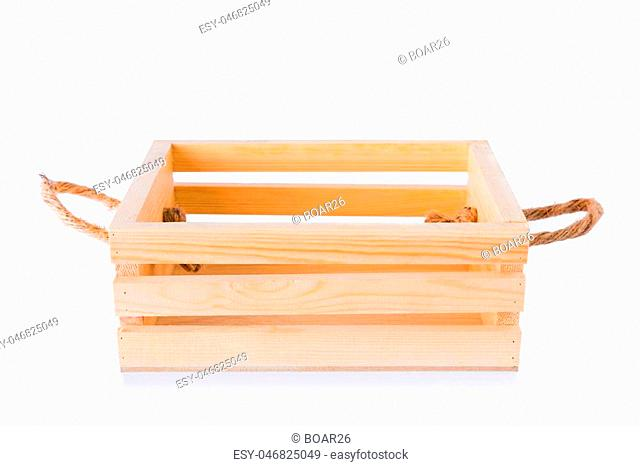 Crates made of pine on a white background