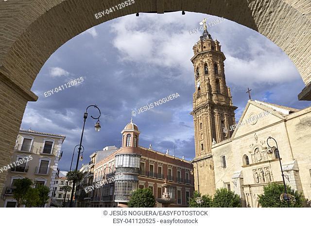 Antequera and tower of the Church of San Sebastian. Andalusia, Malaga, Spain