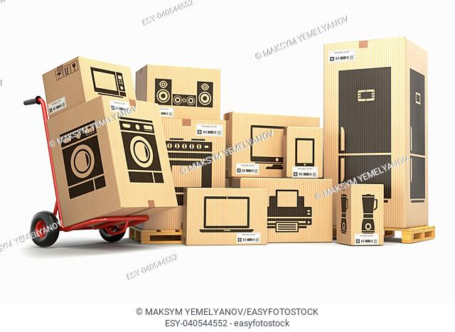 Household kitchen appliances and home electronics in carboard boxes isolated on white. E-commerce, internet online shopping and delivery concept