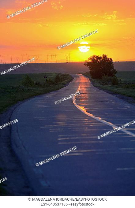 Road to the sunset in spring