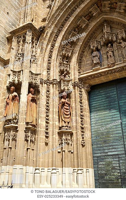 Seville cathedral facade in Constitucion avenue of Sevilla Andalusia Spain