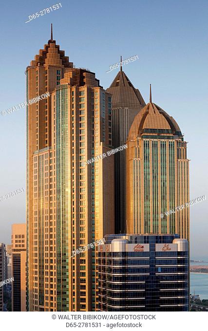 UAE, Abu Dhabi, elevated skyline from Corniche Road East, dawn