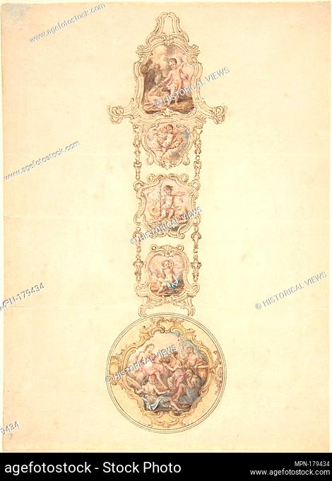 Design for an Enameled Watchcase and Châtelaine with Mythological Figures. Artist: George Michael Moser (Swiss (active Britain)