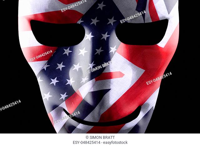 Mask with USA and British flags texture overlay