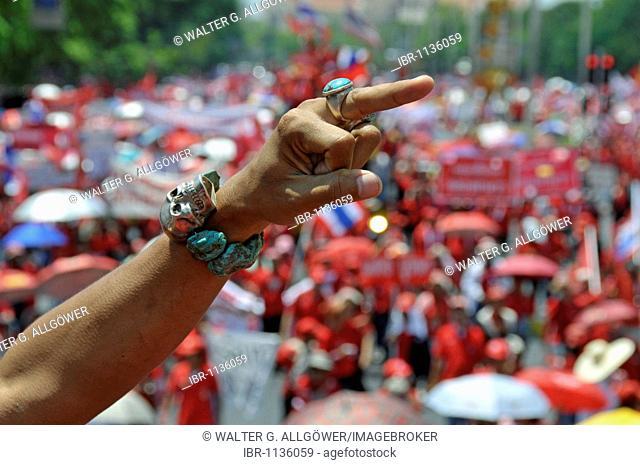 Thaksin Shinawatra followers demonstrating in Bangkok, Thailand, Asia