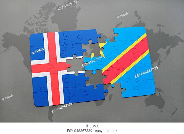 puzzle with the national flag of iceland and democratic republic of the congo on a world map background. 3D illustration