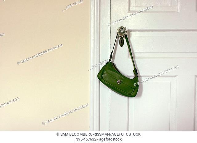 Purse on doorknob