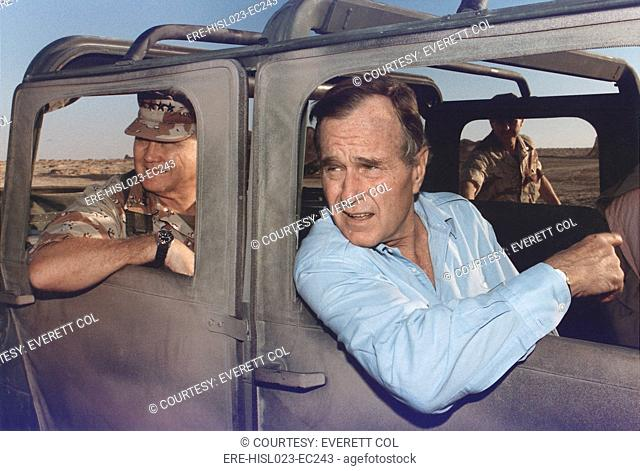 President George Bush riding in an armored jeep with General Schwarzkopf in Saudi Arabia. Nov. 22 1990. BSLOC-2011-3-82