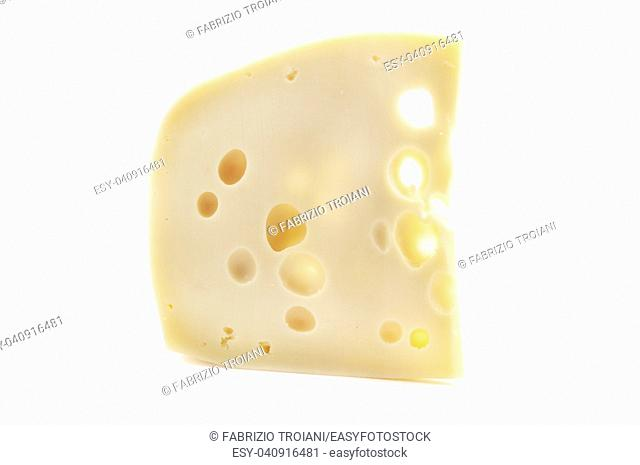 Maasdammer cheese on a white background